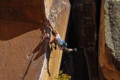 Rock Climbing Photo: Jordan sticking the dyno.