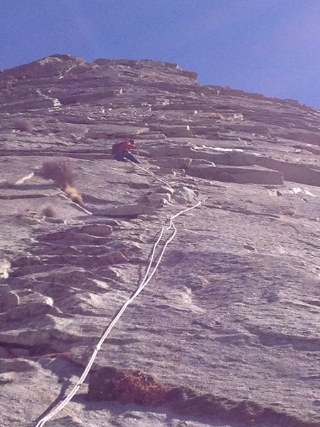 Sergio at the crux of the route on Pitch 7. Photo Jesse Sharp.
