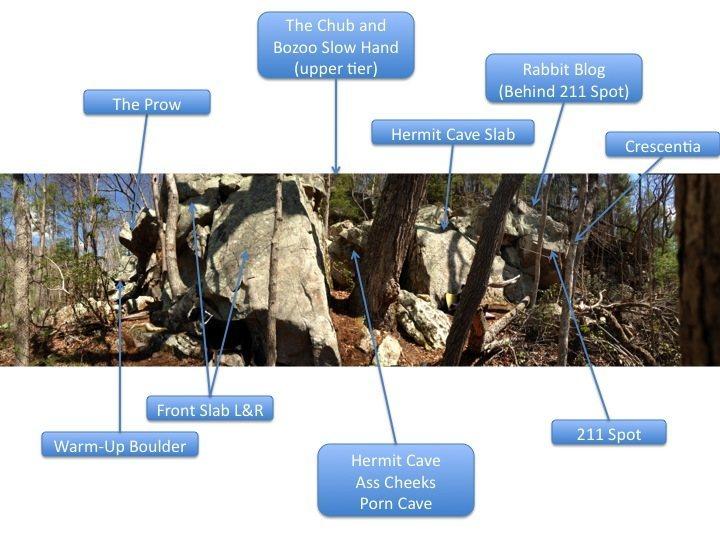 Rock Climbing Photo: Front Slabs Topo