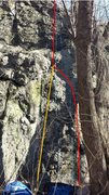 Red line on the photo shows the 5.9+ route, and the orange line shows a 5.10 variation.