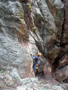 Rock Climbing Photo: Dave at the start.  Party of One is visible to Dav...