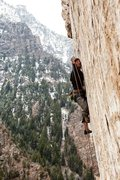 Rock Climbing Photo: Jon Vickers staying tight to make the last clip be...