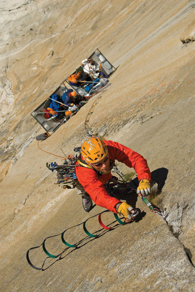 Rock Climbing Photo: Conrad Anker leads out on El Cap. by Jimmy Chin