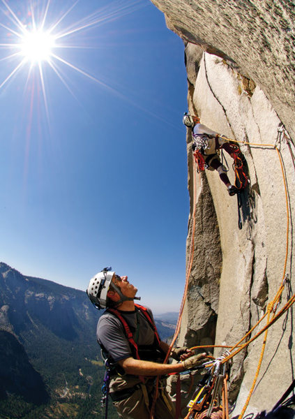 Paul Hewitt (leading) and Roy Smith make it look easy on the Nose of El Cap.<br> by Kevin Steele/Wonderful Machine