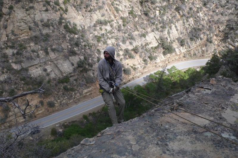 Michael Kaffel rappelling after climbing 'The Boss Man'.