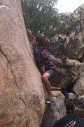 Rock Climbing Photo: Pushing through the mantle move.