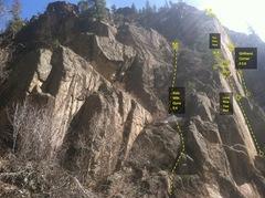 Rock Climbing Photo: Lone Pine Tree area beta.