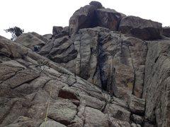 Rock Climbing Photo: Jim Dickson on the first pitch.