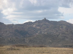 Rock Climbing Photo: The southeast side of Squaw Rock from WY 34.