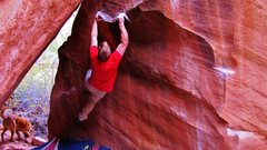 Rock Climbing Photo: Halfway through it, at the juggy rest on Blood On ...