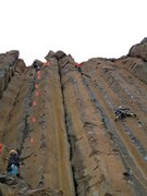 Rock Climbing Photo: The ultra-well protected line with climbers on the...
