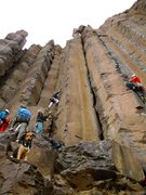 Rock Climbing Photo: Starting up the route, with climber to the right o...
