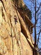 Rock Climbing Photo: Approaching crux on 平衡