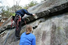 Rock Climbing Photo: Another shot of the start of The Bulge. The first ...