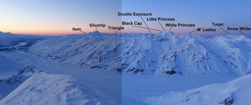 Some of the major peaks in the Deltas as seen from the summit of Institute Peak