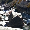 A large boulder. Jump off of it into the deep pool below or do some deep water soloing on the arete.