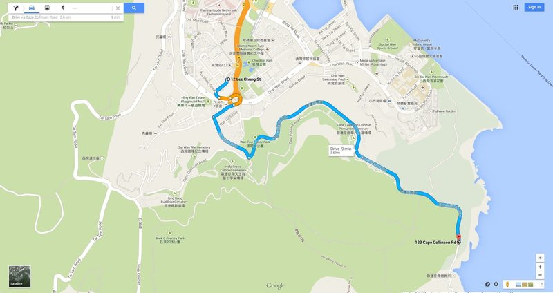 Map for Chai Want MTR to Cape Collinson