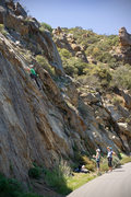 Rock Climbing Photo: Climbers on He Who Double Crosses Me, at Crag Full...