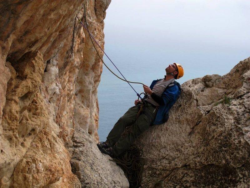 Rock Climbing Photo: Chris Perkins at the P5 Belay.