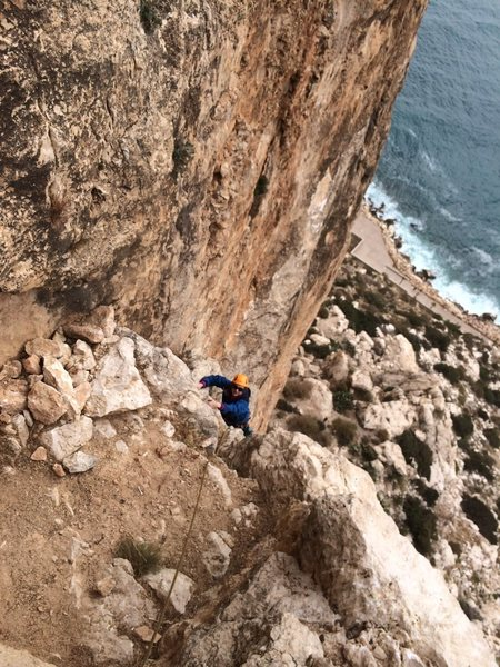 Rock Climbing Photo: Kristin Knudson climbs to the P3 belay of Diedra U...