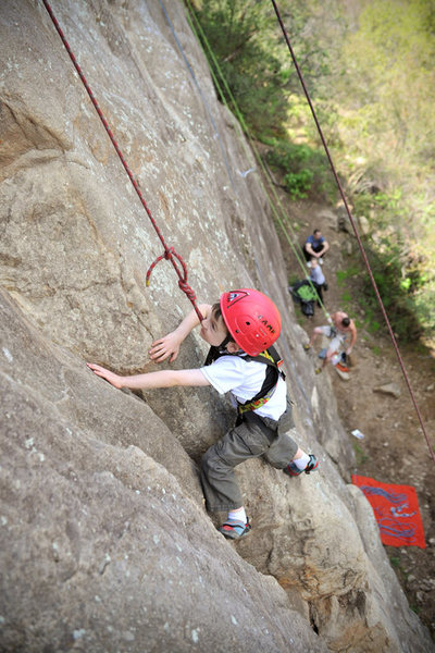Wesley Fienup (at 4 years old in this picture) climbs the wide crack that makes up the first half of The Crack, at the Foot in Ojai.