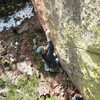 Mike moving into the upper crux.