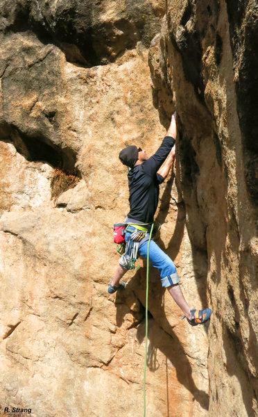Rock Climbing Photo: Mike Phalan starting the crux corner on Huaca del ...