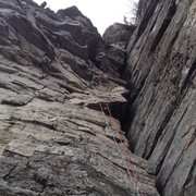 Rock Climbing Photo: Simon in the steep section of p3