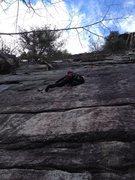 Rock Climbing Photo: Gail floating up Sente