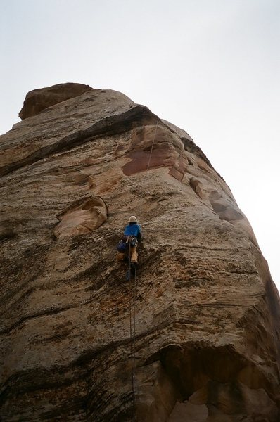 Roy jugging up fixed line to finish pitch II