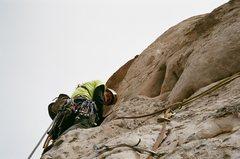 Rock Climbing Photo: Zac heading around pitch II shoulder