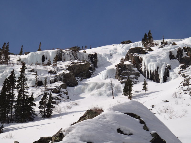 April 5 2014, deep snow covering mid-section of route.