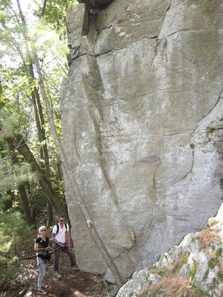 At the foot of the climb. Starts on the arete and continues up the face, going slightly right.