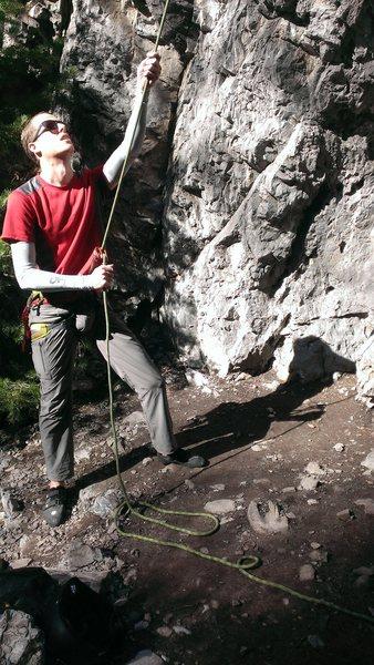 Belaying Chupacabra in Rock Canyon.