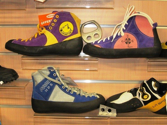 Rock Climbing Photo: Shoes for sale in shop in Valmalenco, Italy