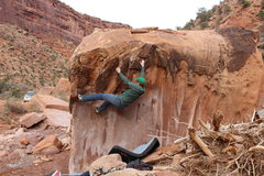 Rock Climbing Photo: Setting up the feet for the move to the topout. Th...