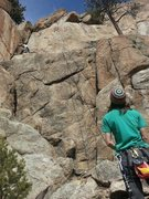 Rock Climbing Photo: Getting in gear between the 1st and 2nd bolts befo...