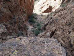 Rock Climbing Photo: looking down pitch 1