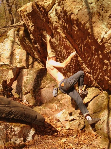 Rock Climbing Photo: In this photo my right hand is on the starting rig...