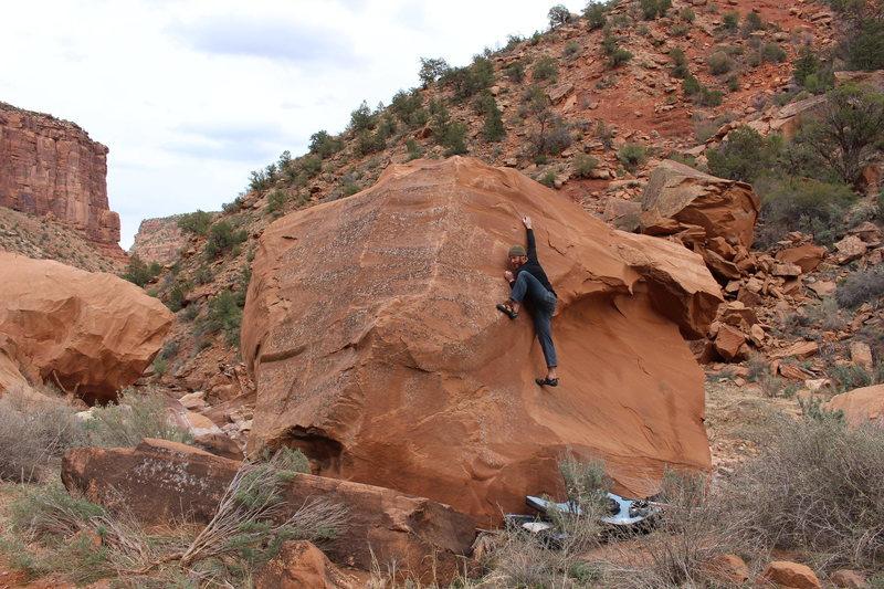 Rock Climbing Photo: Bag about to move through the crux. Good move.