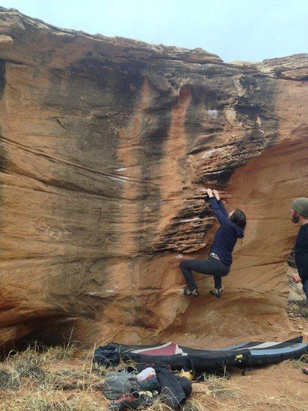 Rock Climbing Photo: Lela moving through the start holds.