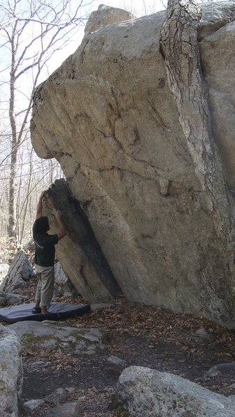 Rock Climbing Photo: Unknown V6-7. Start to the left of the tree. Watch...