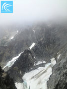 Rock Climbing Photo: Fog rolls in and envelops the face above the Ice C...