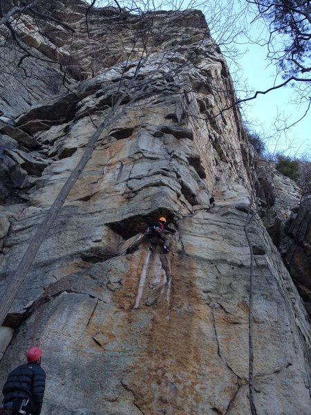 Owen at the first crux
