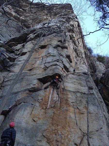 Rock Climbing Photo: Owen at the first crux