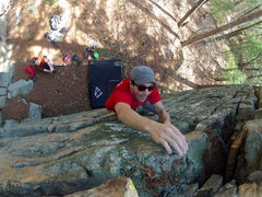 Rock Climbing Photo: Ely topping out on House boulder 3
