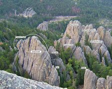 Rock Climbing Photo: major formations labeled