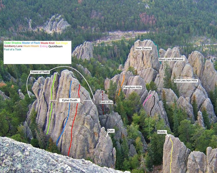 Rock Climbing Photo: major formations labeled with some routes to help ...