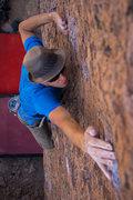 Rock Climbing Photo: Thomas making a long reach on Wavy Gravy
