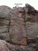 Rock Climbing Photo: Conglomerate Face & adjacent routes.